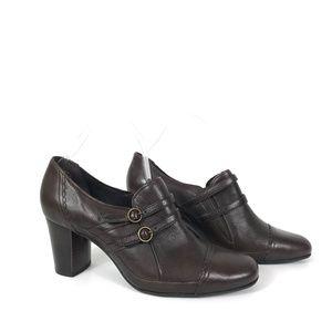 Clarks Artisian Dark Brown Slip On Block Heels